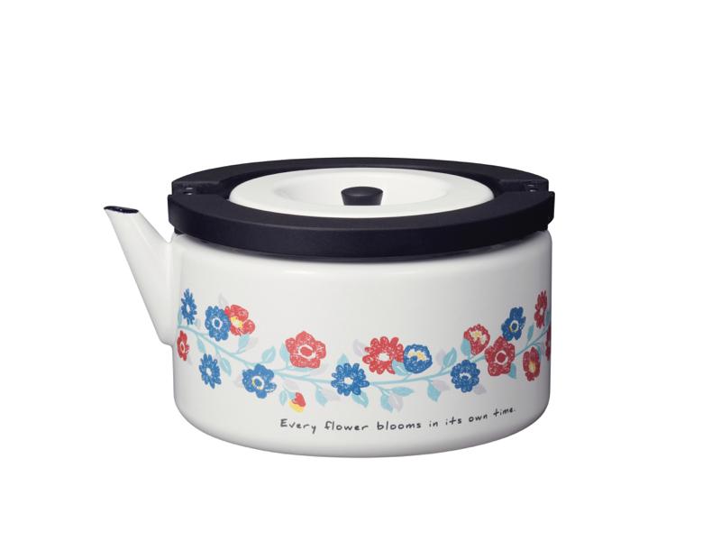 北歐系列 琺瑯泡茶兩用壺 花彩白