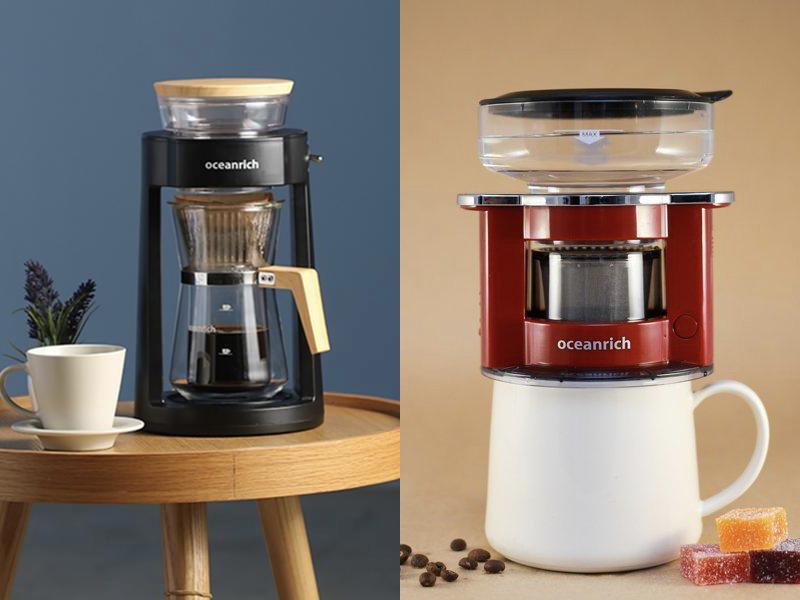 完美萃取旋轉咖啡機+便攜式咖啡機(莧紅色)(贈:雙層玻璃杯+電池+濾紙)