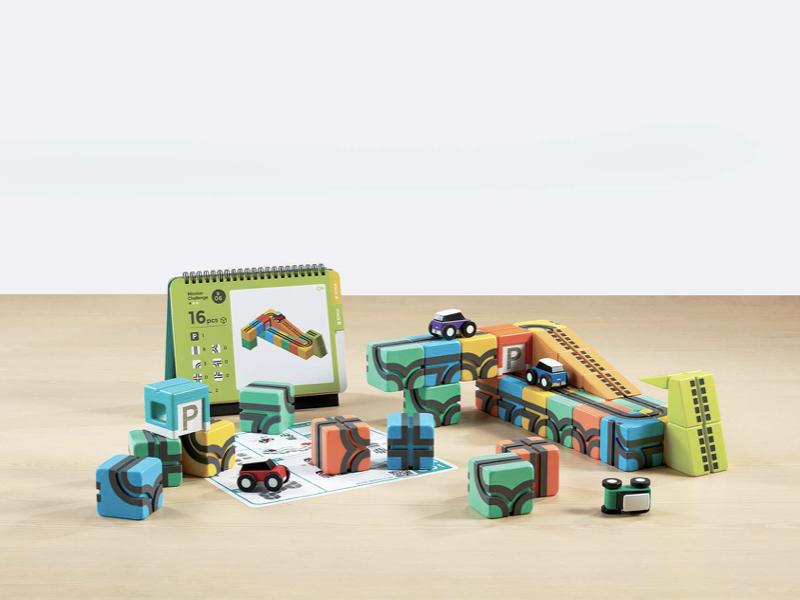 益智磁吸軌道玩具 同樂組(贈:軌道方塊x4+挑戰卡片x1+玩具迴力車x1)