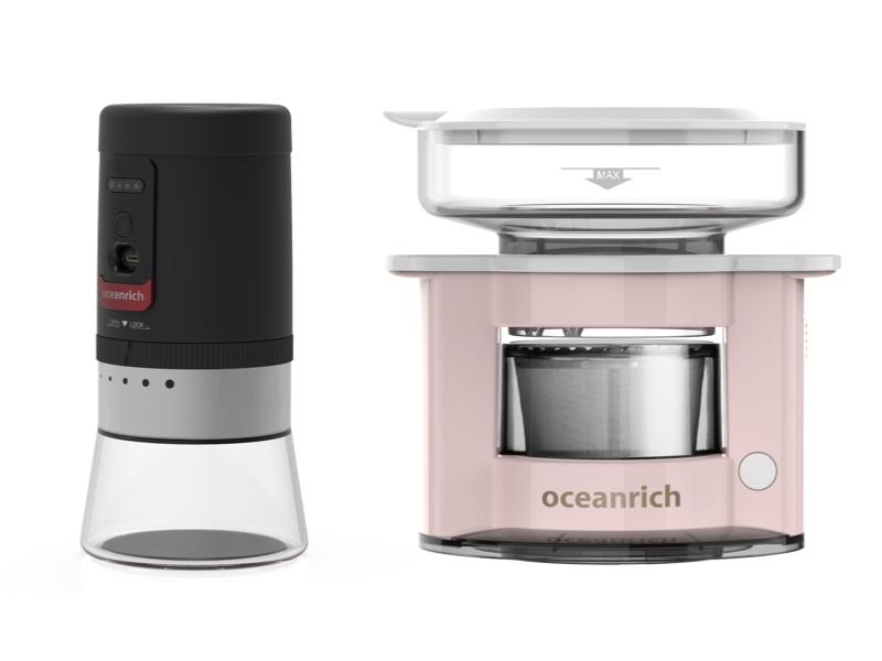 便攜電動磨豆機+便攜式旋轉萃取咖啡機