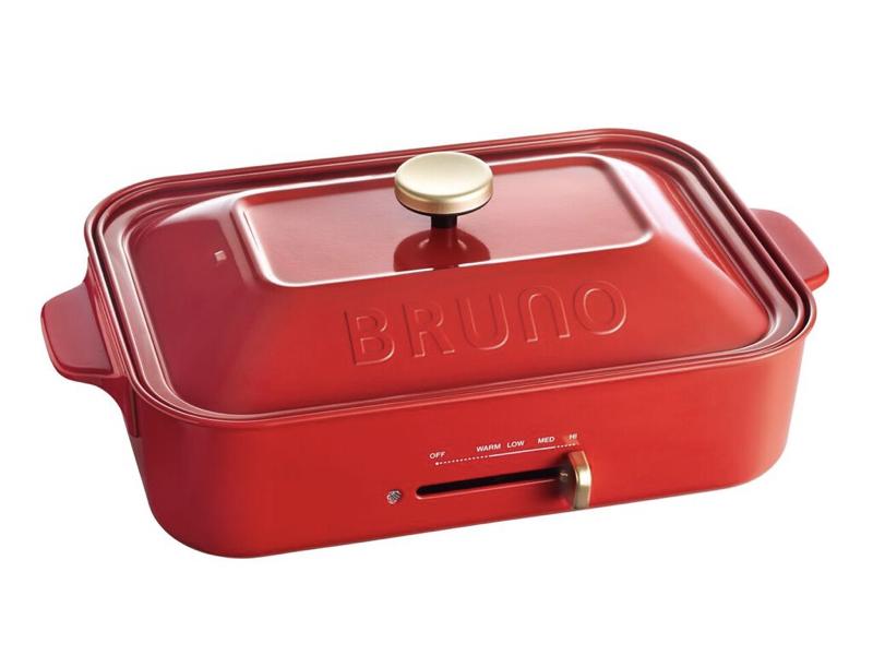 日本BRUNO多功能電烤盤(紅色)(贈:裝飾旋鈕)