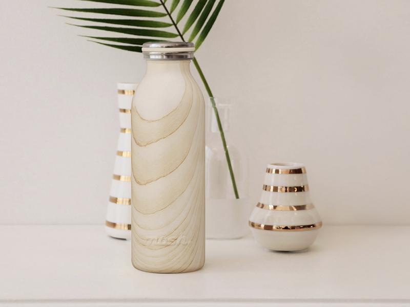 牛奶系木紋保溫保冷瓶(贈:保溫瓶350ml)