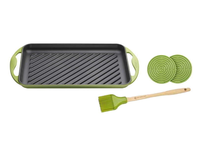 雙耳長方鐵烤盤32.5CM(加贈油刷、隔熱墊)
