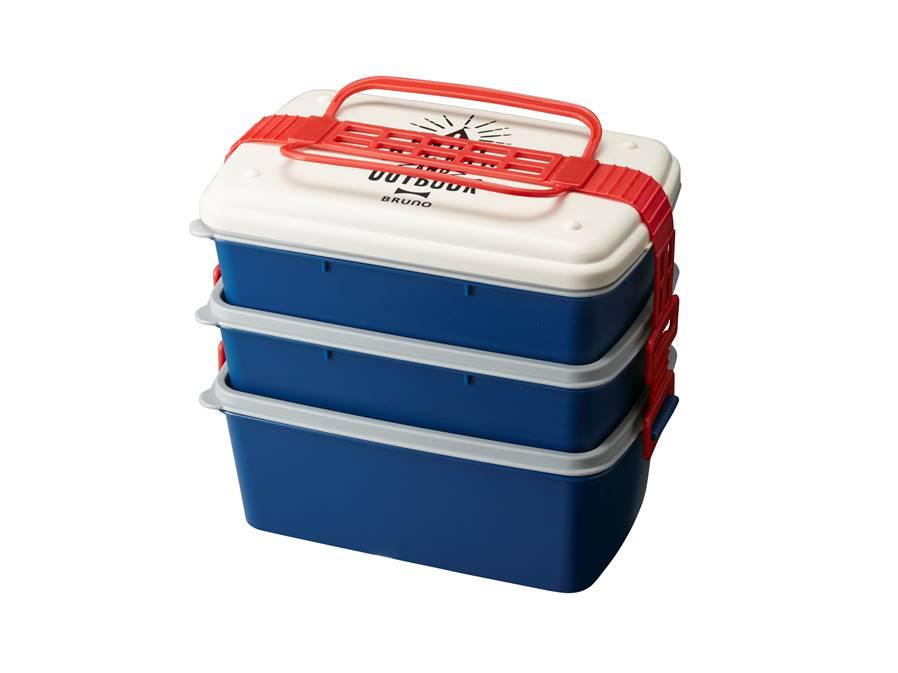 野餐季三層便當盒 深藍(長形)