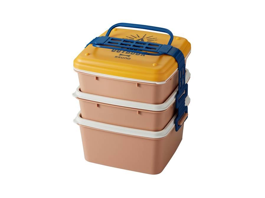 野餐季三層便當盒 黃色(方形)
