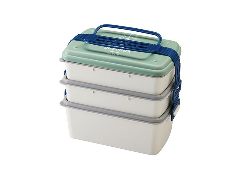 野餐季三層便當盒 綠色(長形)