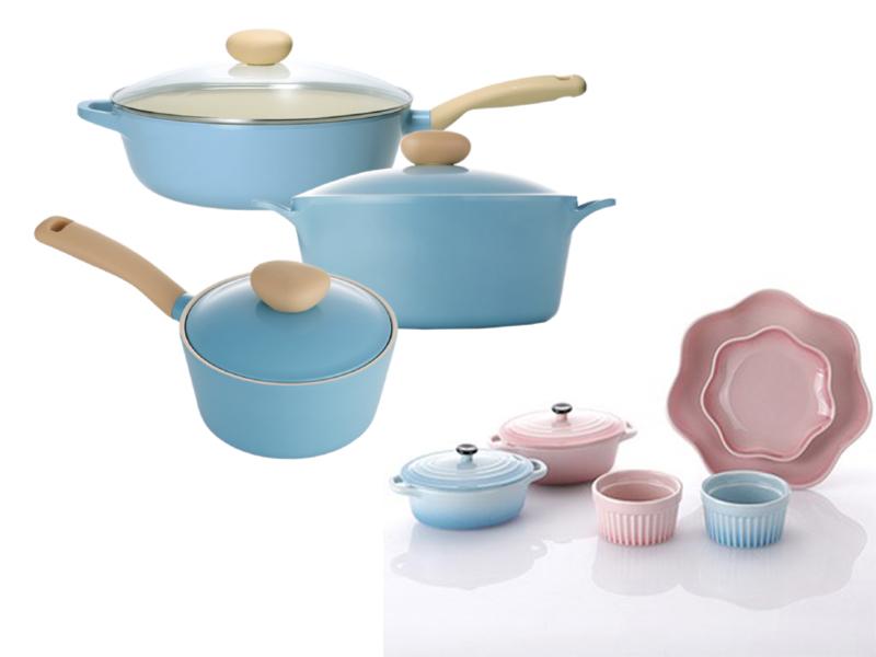 Neoflam Retro系列 藍色公主鍋具組 附鑄瓷餐具6件組