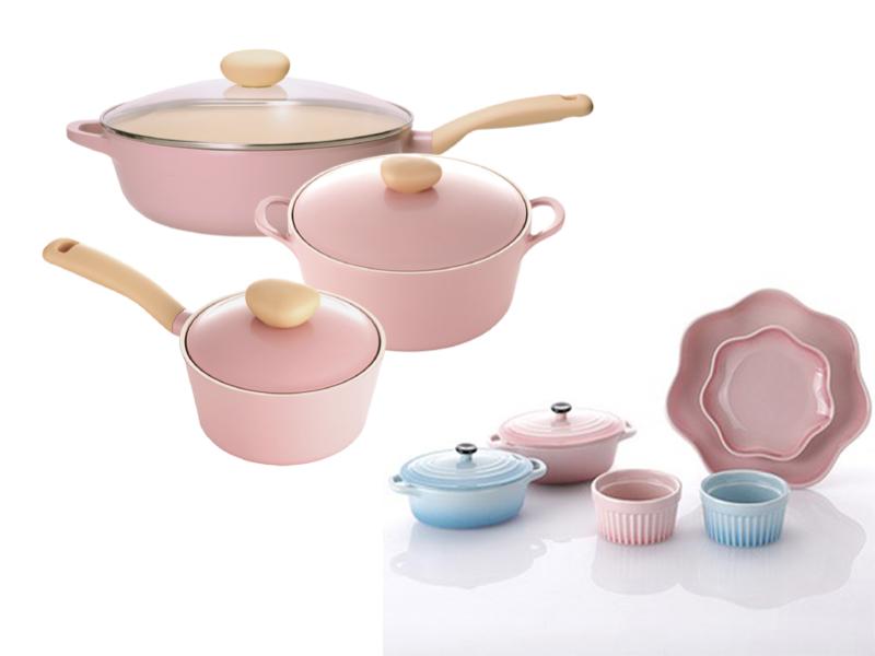 Neoflam Retro系列 粉色公主鍋具組 附鑄瓷餐具6件組