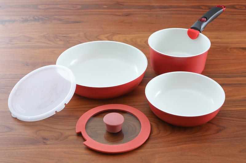 陶瓷不沾好收納鍋具組(贈:保鮮盒*2+PE蓋)