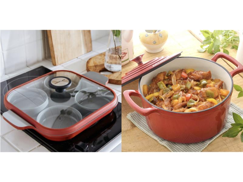 Steam Plus Pan 烹飪神器雙耳深鍋(含玻璃蓋)(加購琺瑯鑄鐵鍋)(贈:料理夾+愛心鍋+玉子燒鍋)