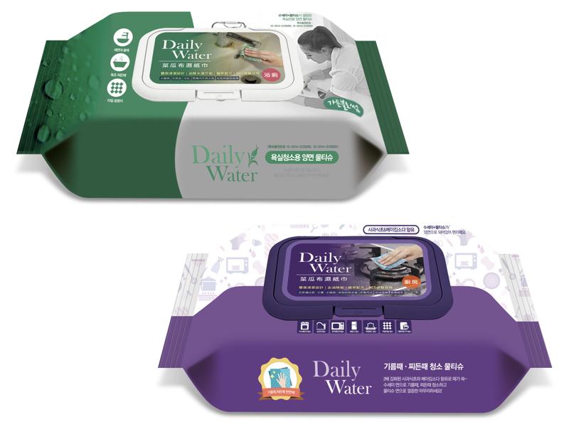 拋棄式雙面菜瓜布濕紙巾(浴廁用+廚房用)(二入)贈:第三代 waffle 菜瓜布