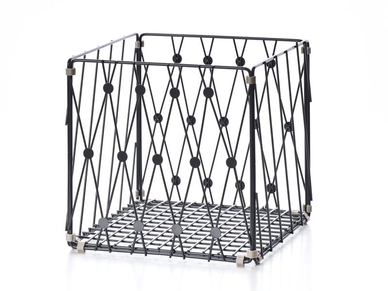 自由組鐵線收納籃 圓點窗花 方型